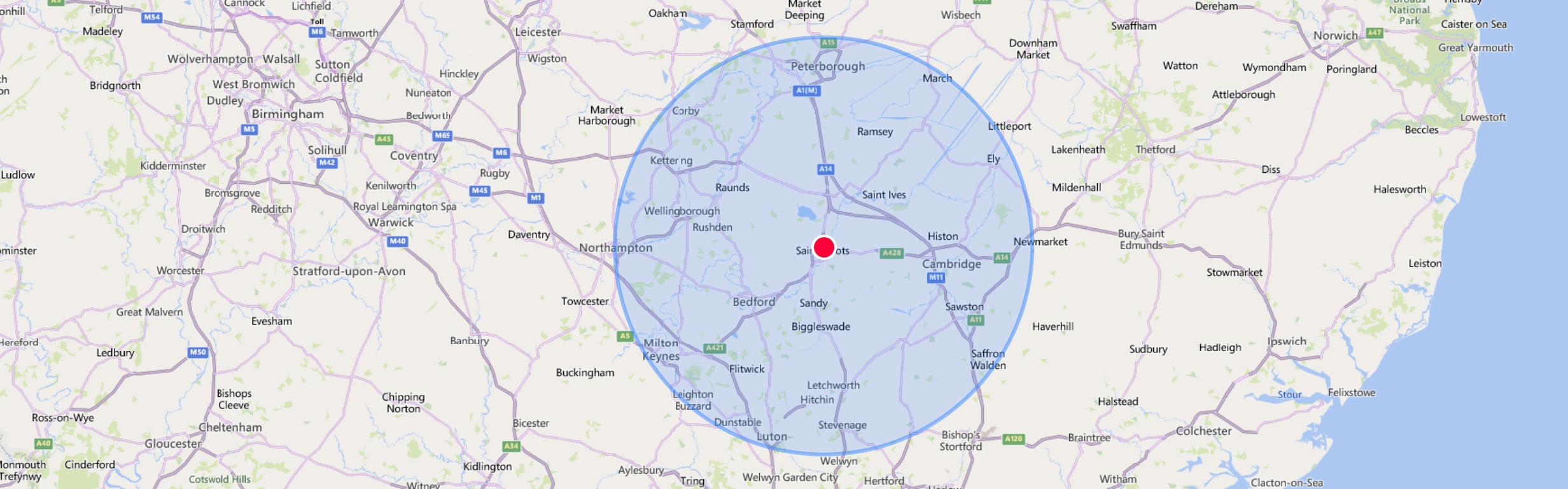 27 mile radius area for servicing
